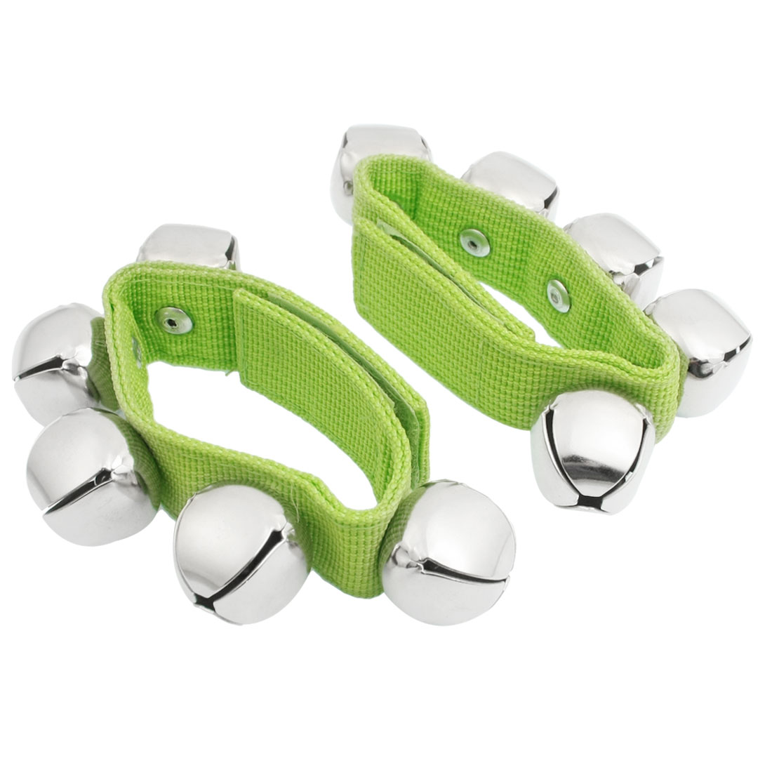 Pair Green Adjustable Band Musical Tambourine Jingling Bells for Xmas Festive