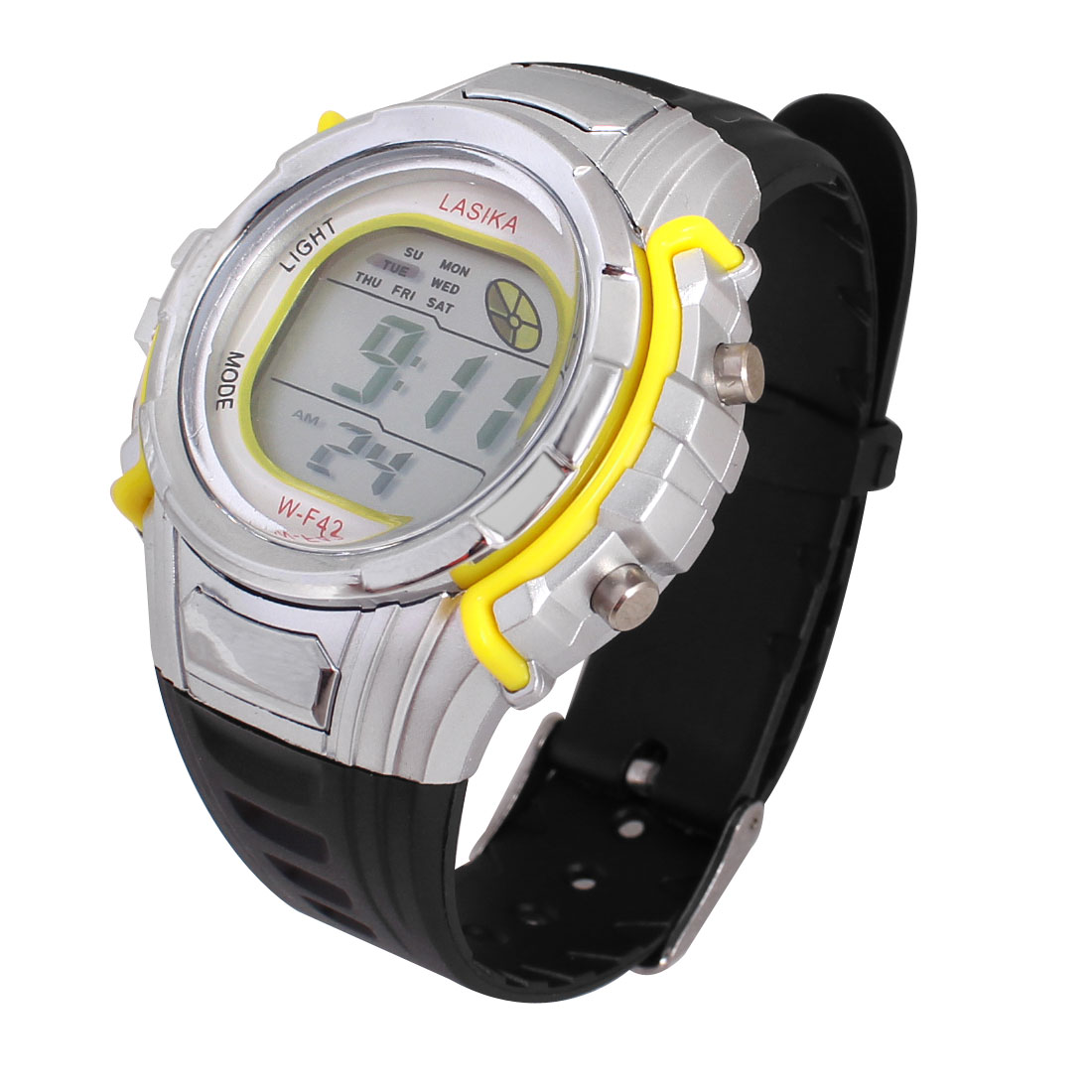 Kids Adjustable Band Stopwatch Alarm Clock Sports Wrist Watch Yellow