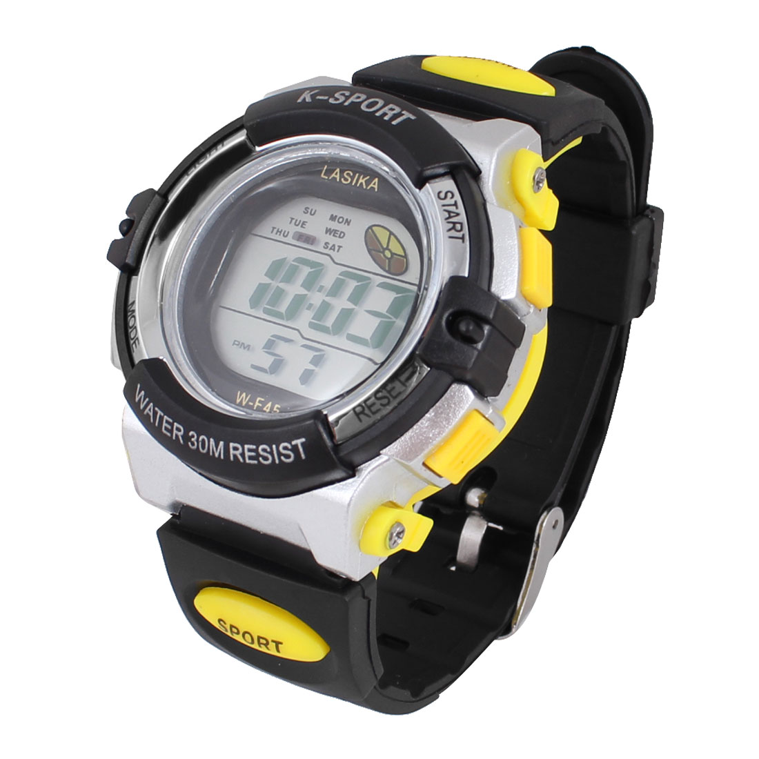 Children Adjustable Band Stopwatch Alarm Clock Sports Wrist Watch Yellow