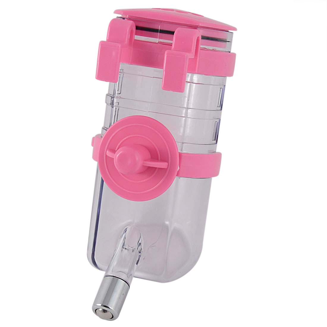 Doggy Cat Dog Plastic Hanging Bottle Holder Pet Water Drinking Feeder Pink Clear 350ml