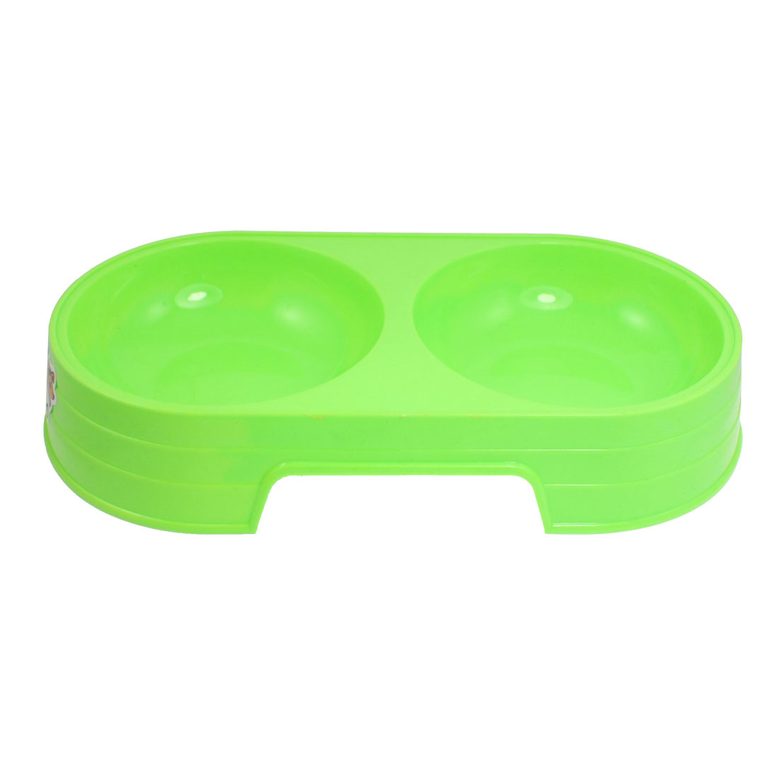 Green Plastic Double Diner Pet Cat Dog Food Water Bowl