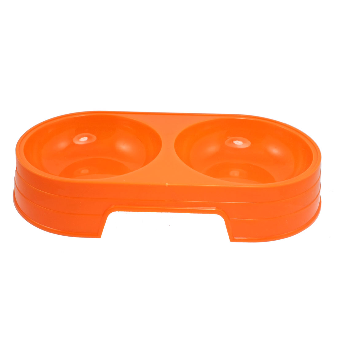 Orange Plastic Double Diner Pint Puppy Cat Dog Food Bowl Container