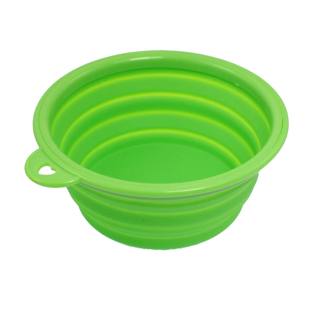 Travel Portable Green Soft Silicone Collapsible Pet Dog Cat Food Bowl
