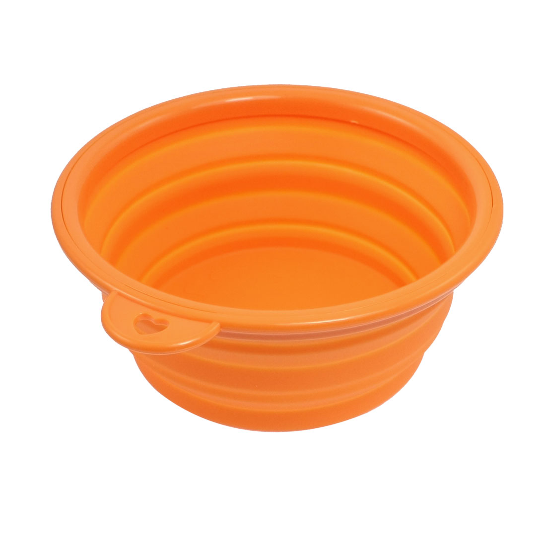 Pet Dog Cat Silicone Adjustable 3 Heights Portable Food Water Bowl Orange