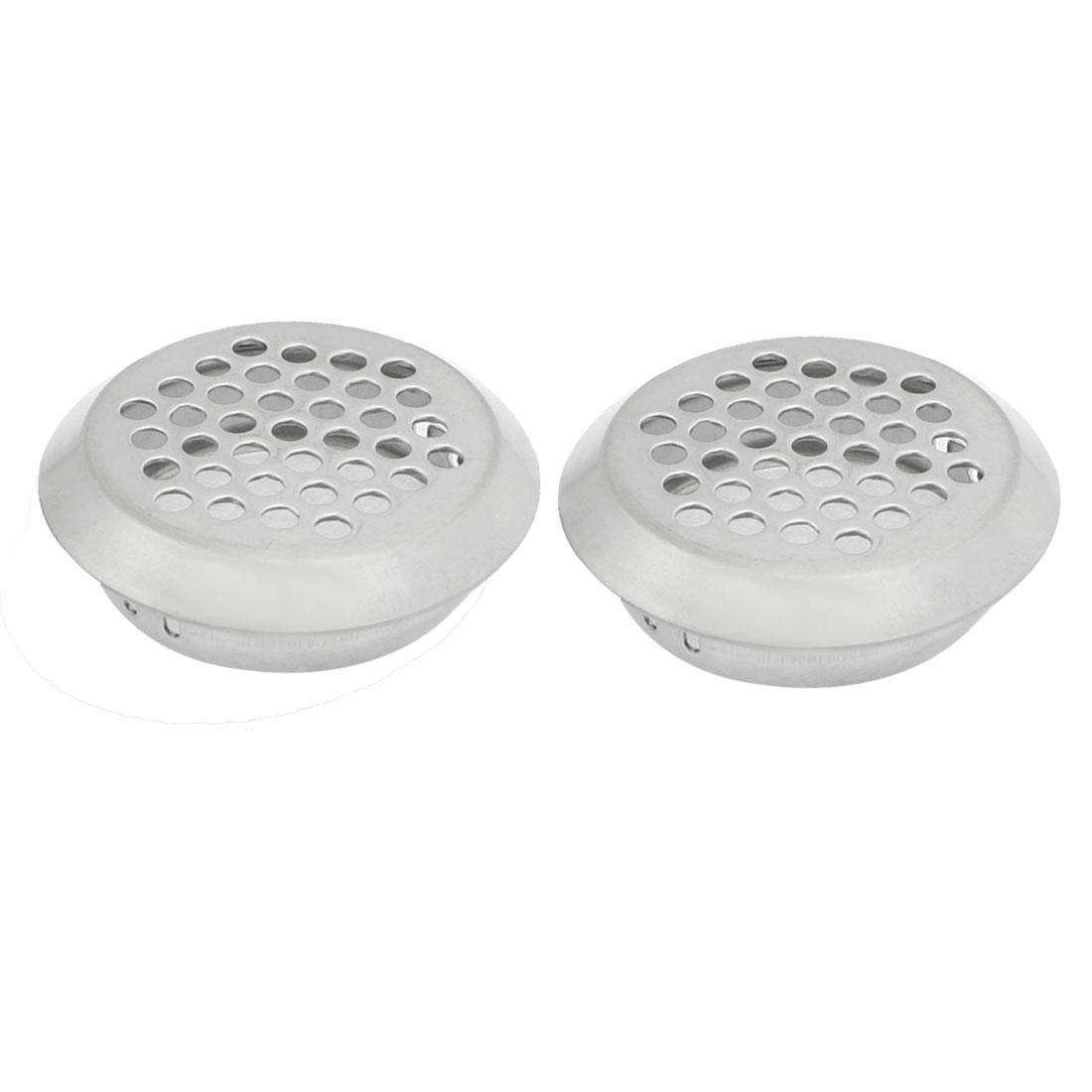 2 Pcs Silver Tone Metal Mesh Hole Round Air Vent Louvers 35mm