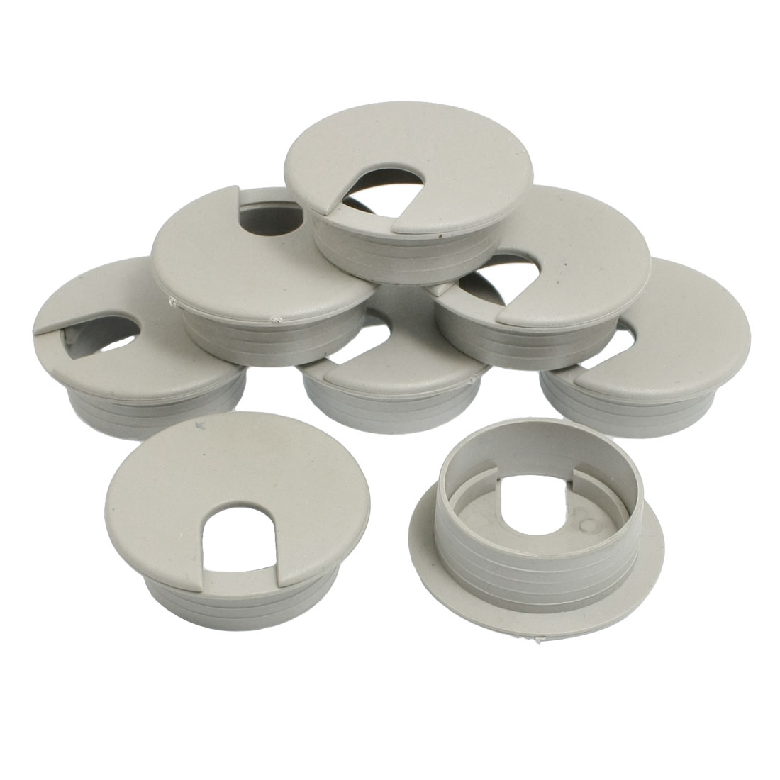 8 Pcs Office Computer Desk Cable Hole Covers Plastic Grommets 35mm Dia.Gray
