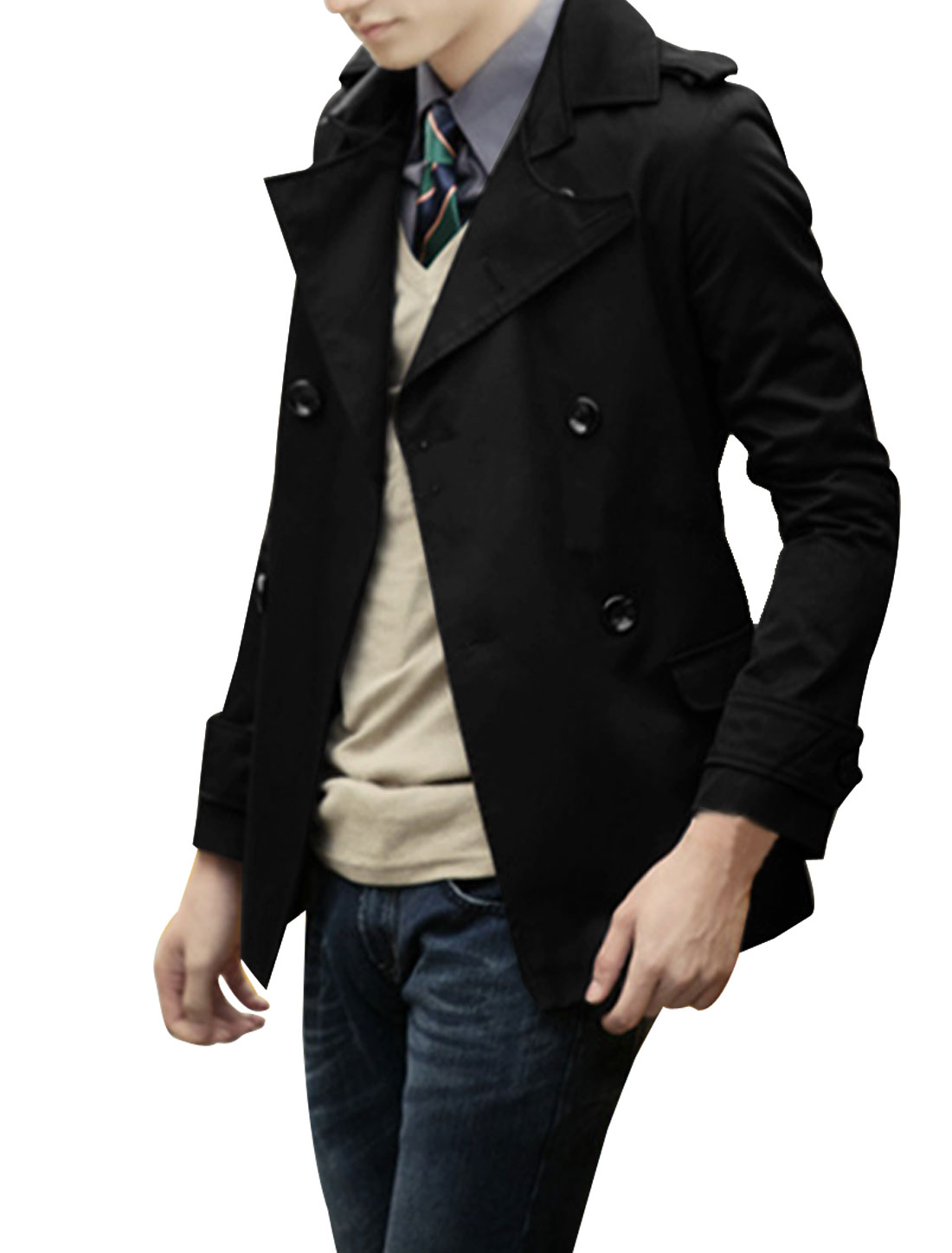 Mens Black Asymmetric Collar Side Pockets Lined Casual Windbreaker S