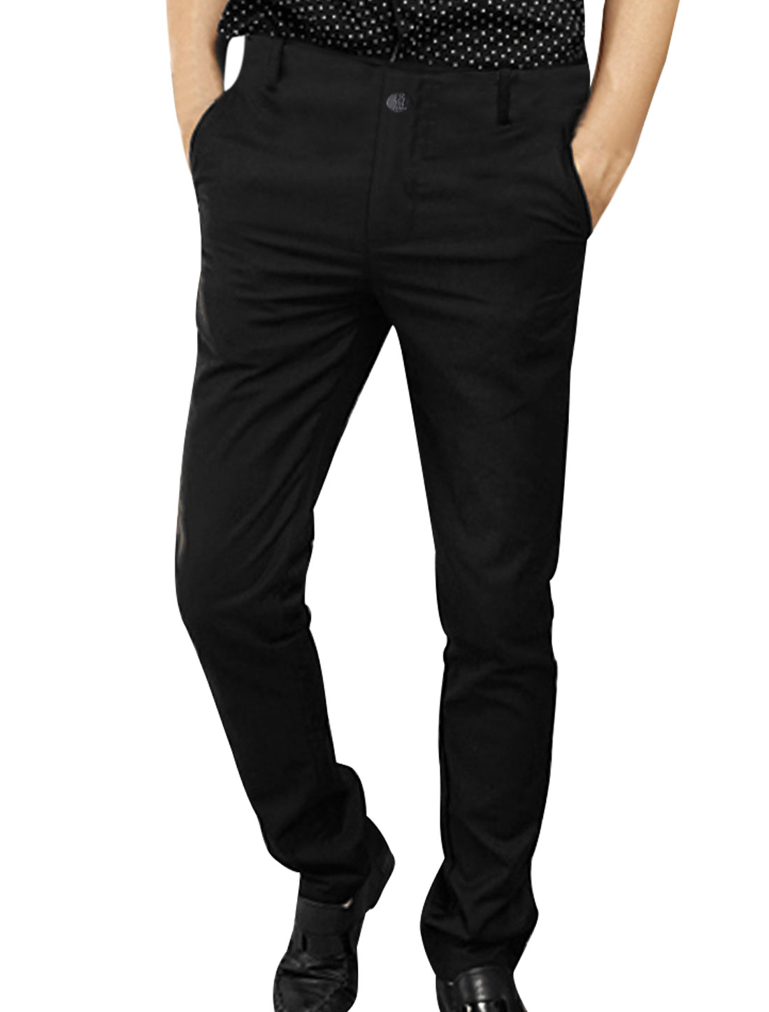 Mens Black Casual Single Button Hip Pockets Zipped Closure Fall Suit Pants W31