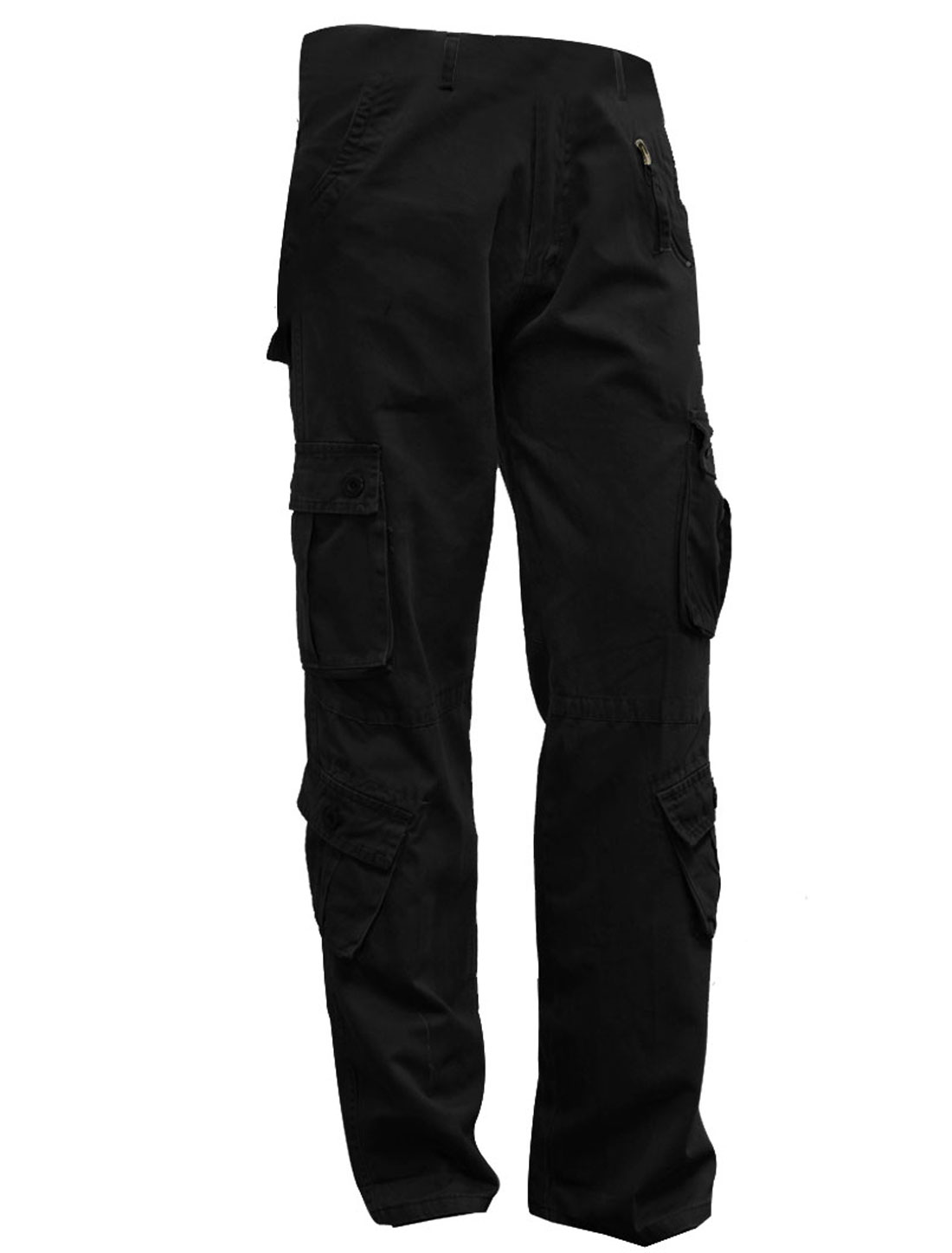 Mens Black Six Pockets Front Casual Full Length Cargo Pants W34