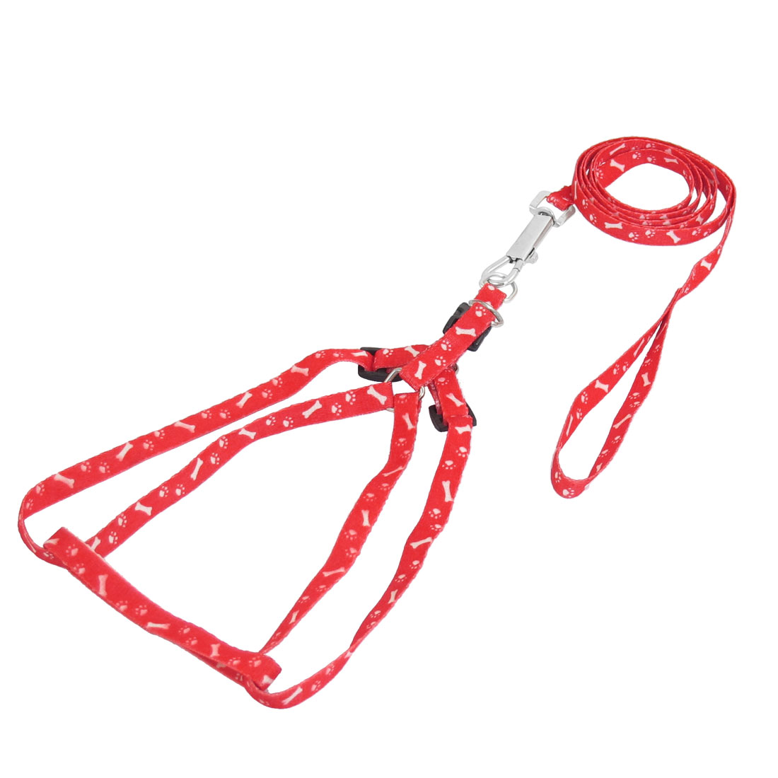 4.49ft Long Puppy Pet Nylon Rope Adjustable Dog Harness Leash Collar Red