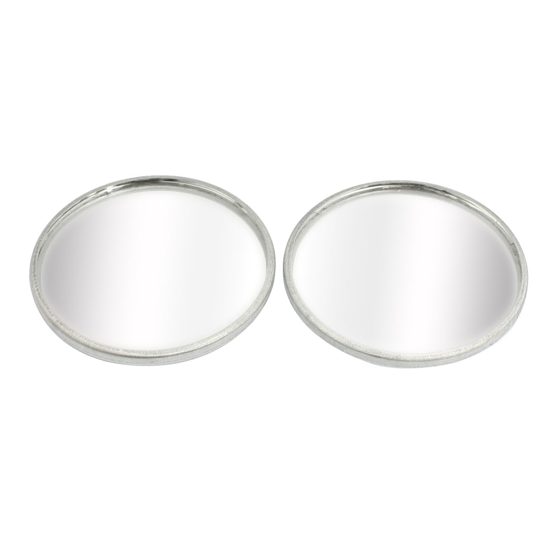 2 Pcs Silver Tone Adhesive Round Rear View Blind Spot Mirrors 1.6""