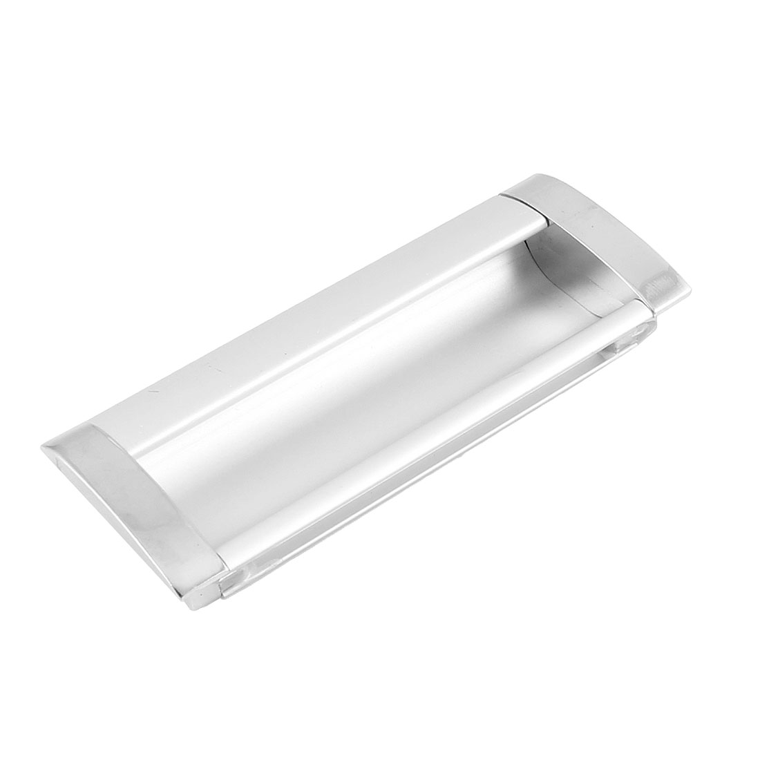 "Silver Tone Aluminum Rectangular Flush Pull Handle 4.3"" Long for Drawer"
