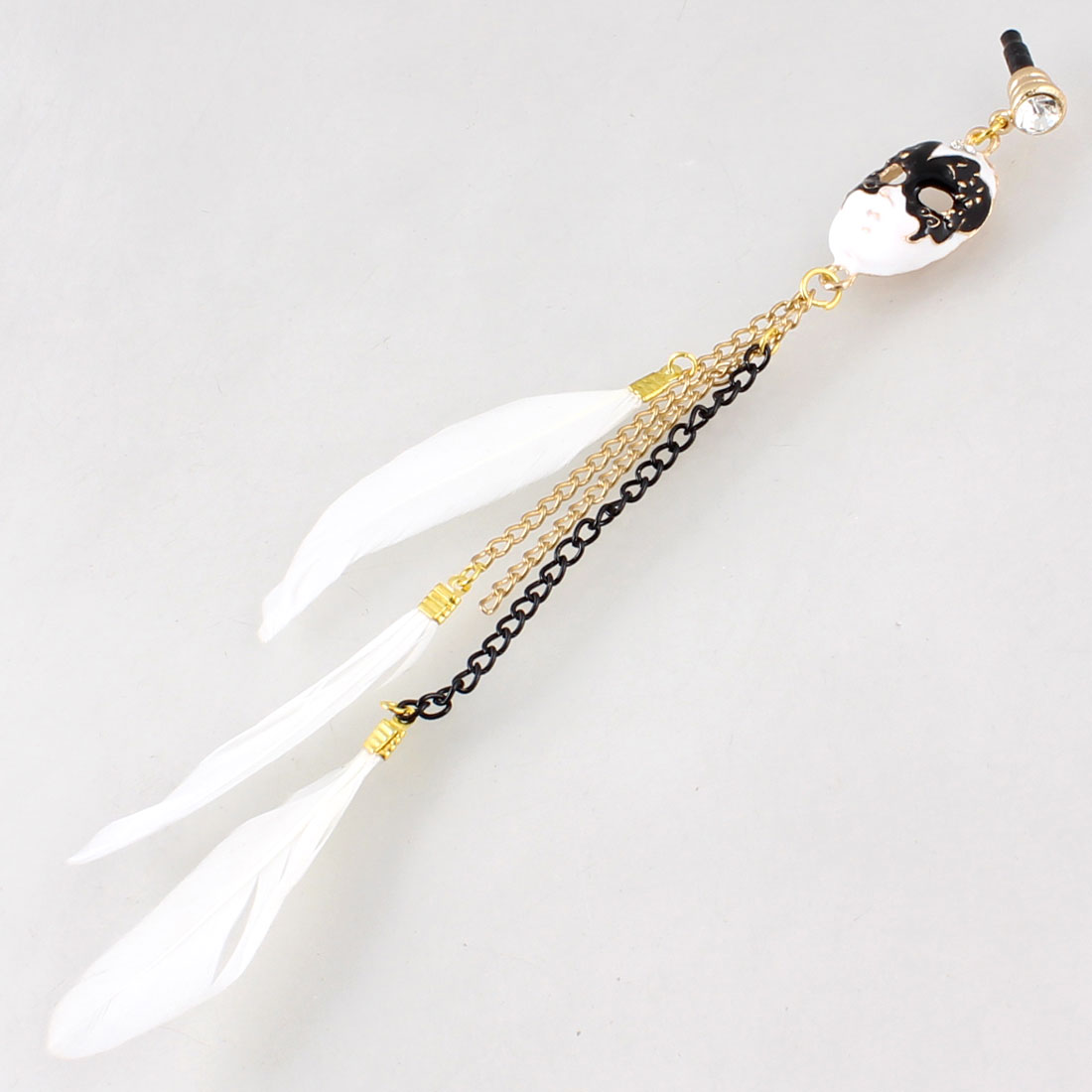 Mask White Faux Feather Pendant 3.5mm Ear Dust Cap Phone Strap for Cellphone