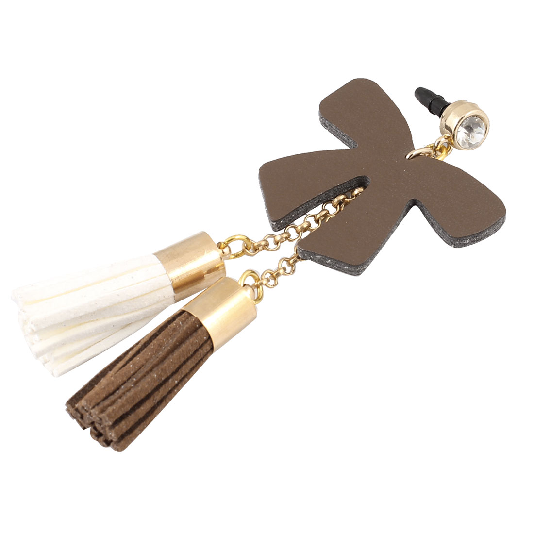 Tassels Coffee Color Bow Decor 3.5mm Ear Dust Cap Phone Strap for Phone