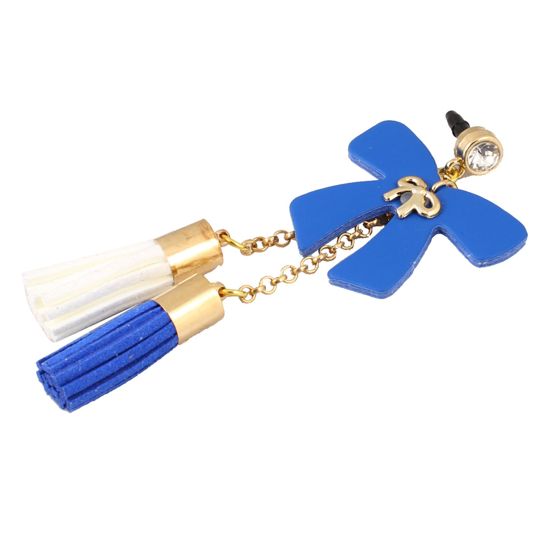 Tassels Detail Blue Bow Decor 3.5mm Ear Dust Cap Phone Strap for Phone