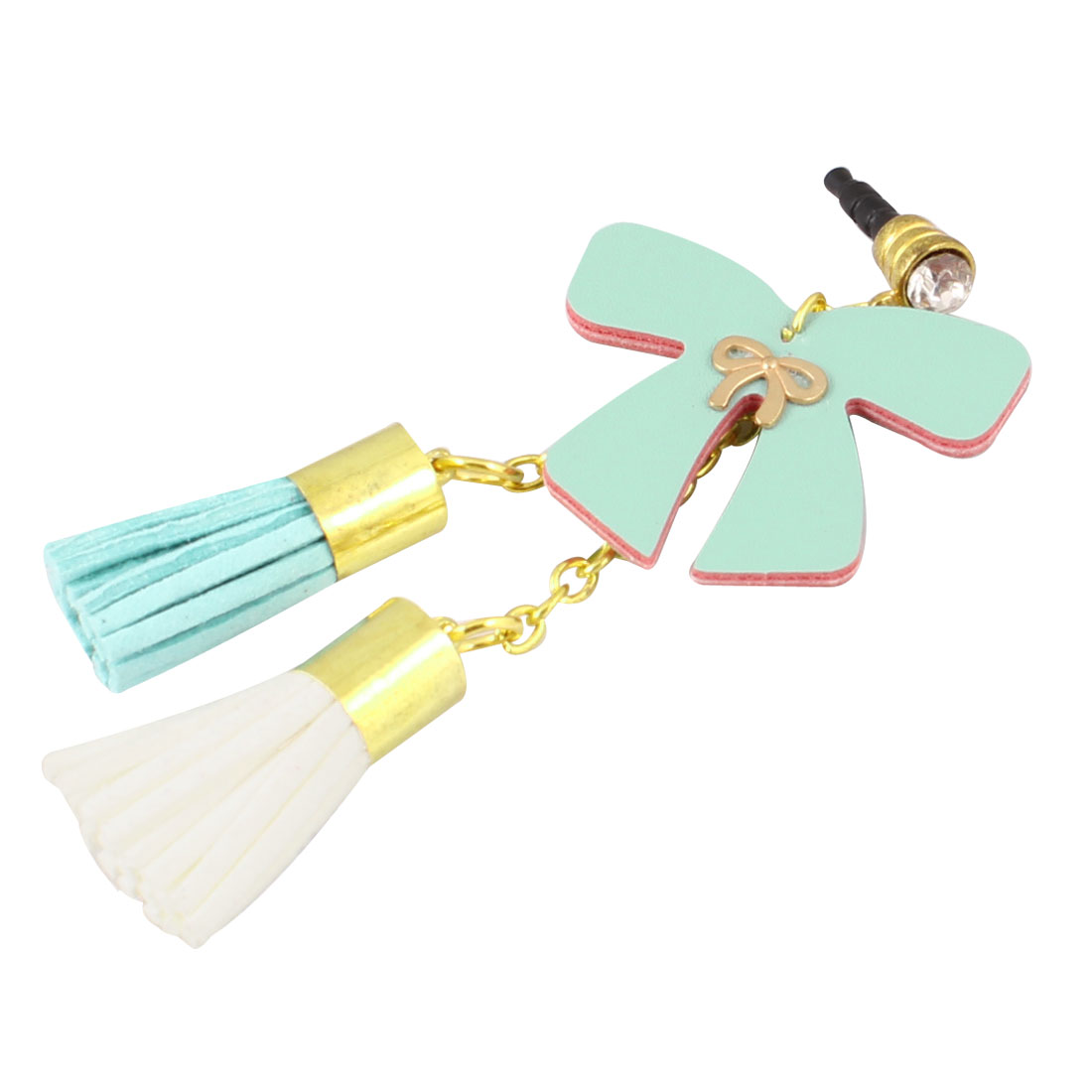 Light Green Bow Decor 3.5mm Ear Dust Cap Phone Strap for Cell Phone