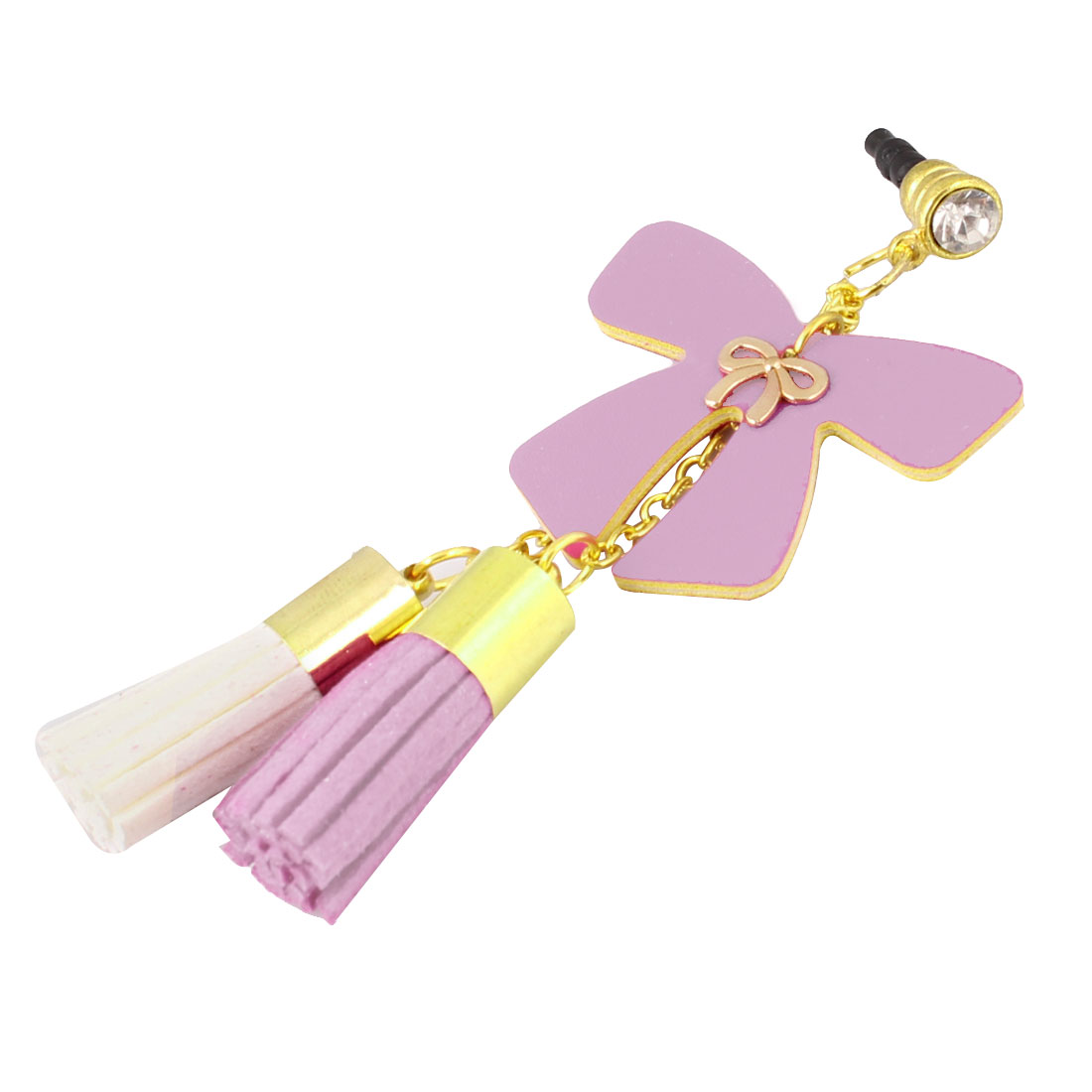 Tassels Detail Pink Bow Decor 3.5mm Ear Dust Cap Phone Strap for Cell Phone