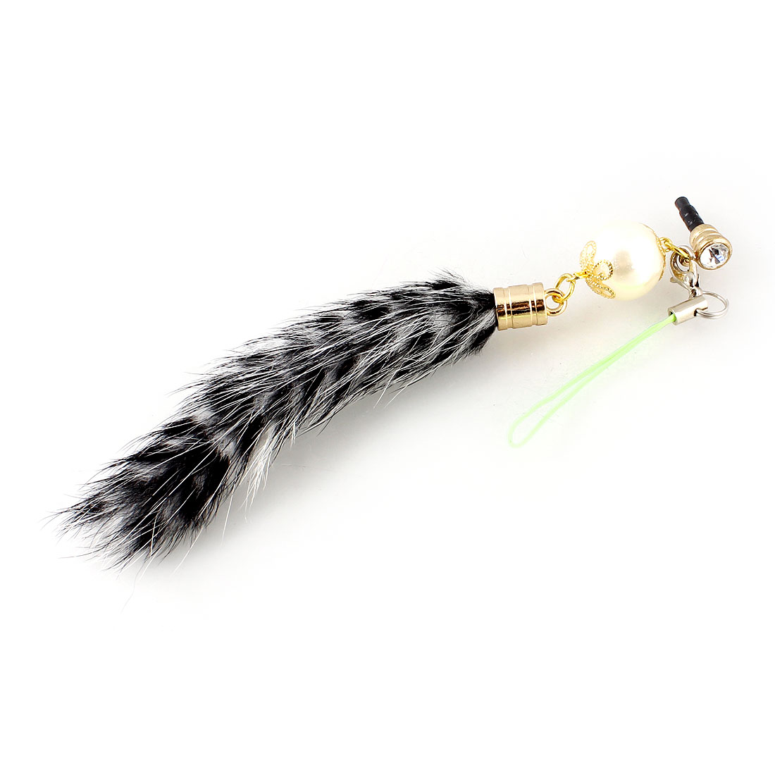 White Faux Fur Tail Accent 3.5mm Ear Dust Cap Phone Strap for Smart Phone