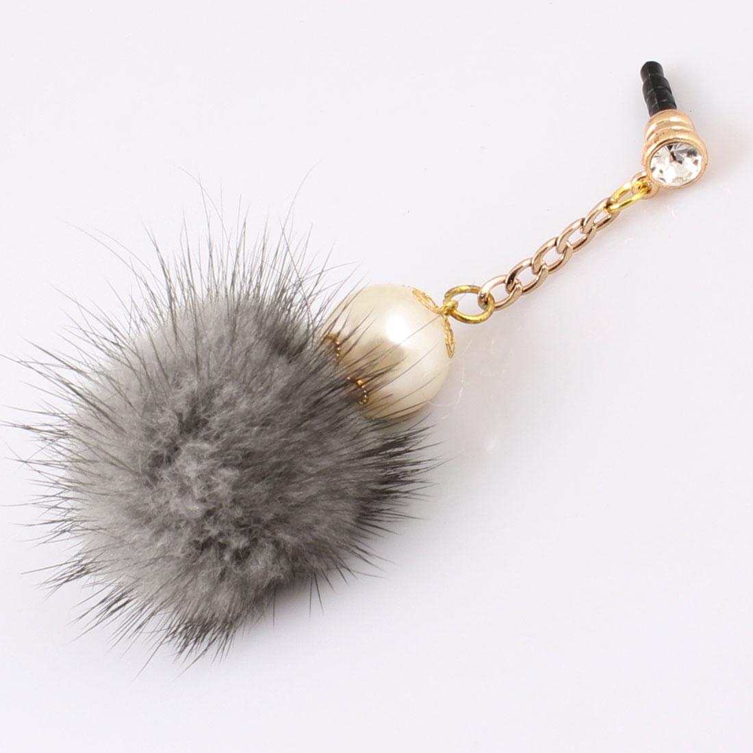 Imitation Pearl Decor Gray 3.5mm Anti Dust Earphone Ear Cap for Cell Phone