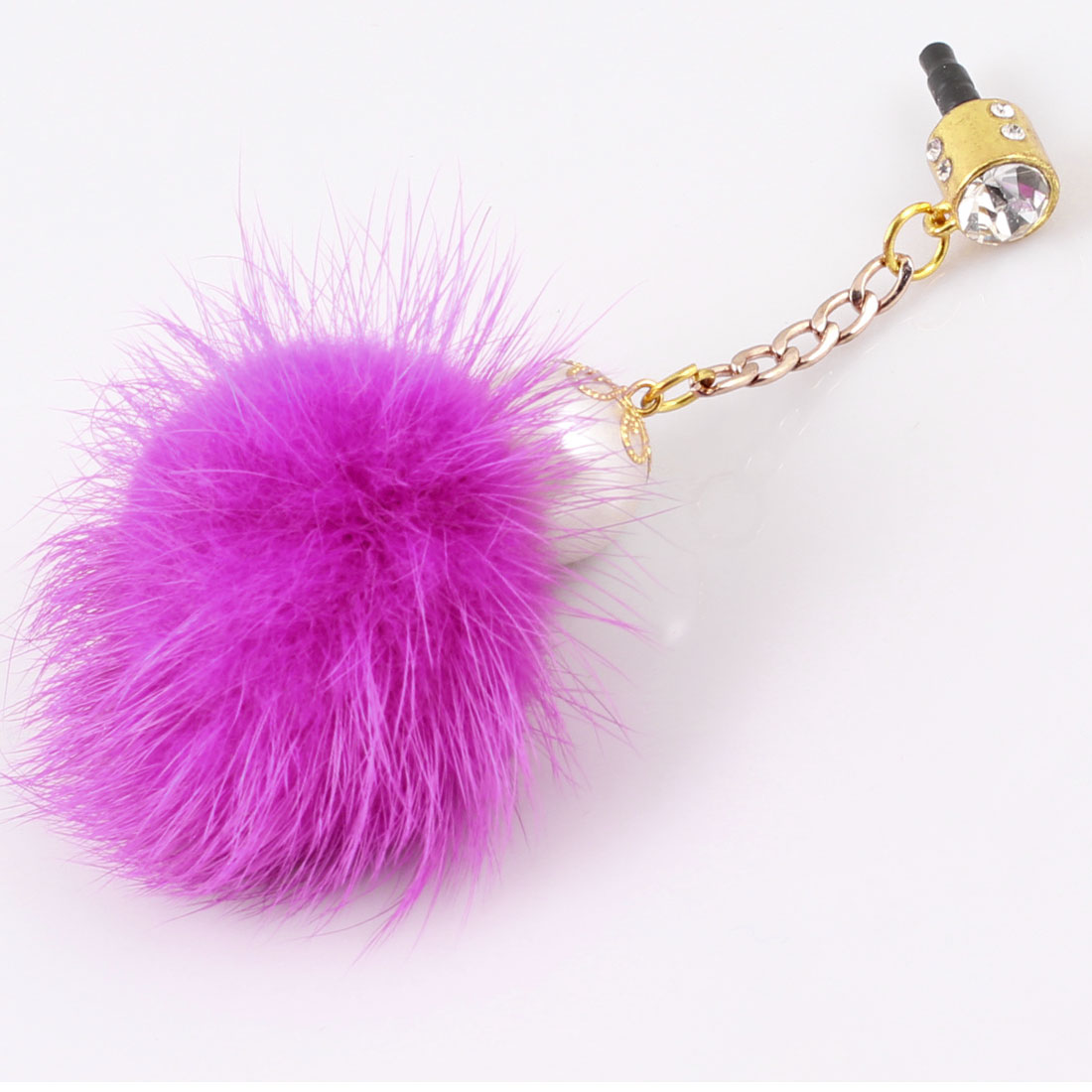 Fuchsia Faux Fur Ball 3.5mm Ear Cap Dust Jack Stopper Dock for Smartphone