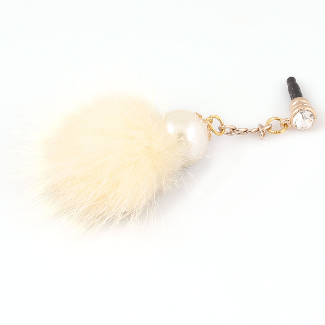 Faux Imitation Pearl Decor Beige 3.5mm Anti Dust Earphone Ear Cap for Smartphone