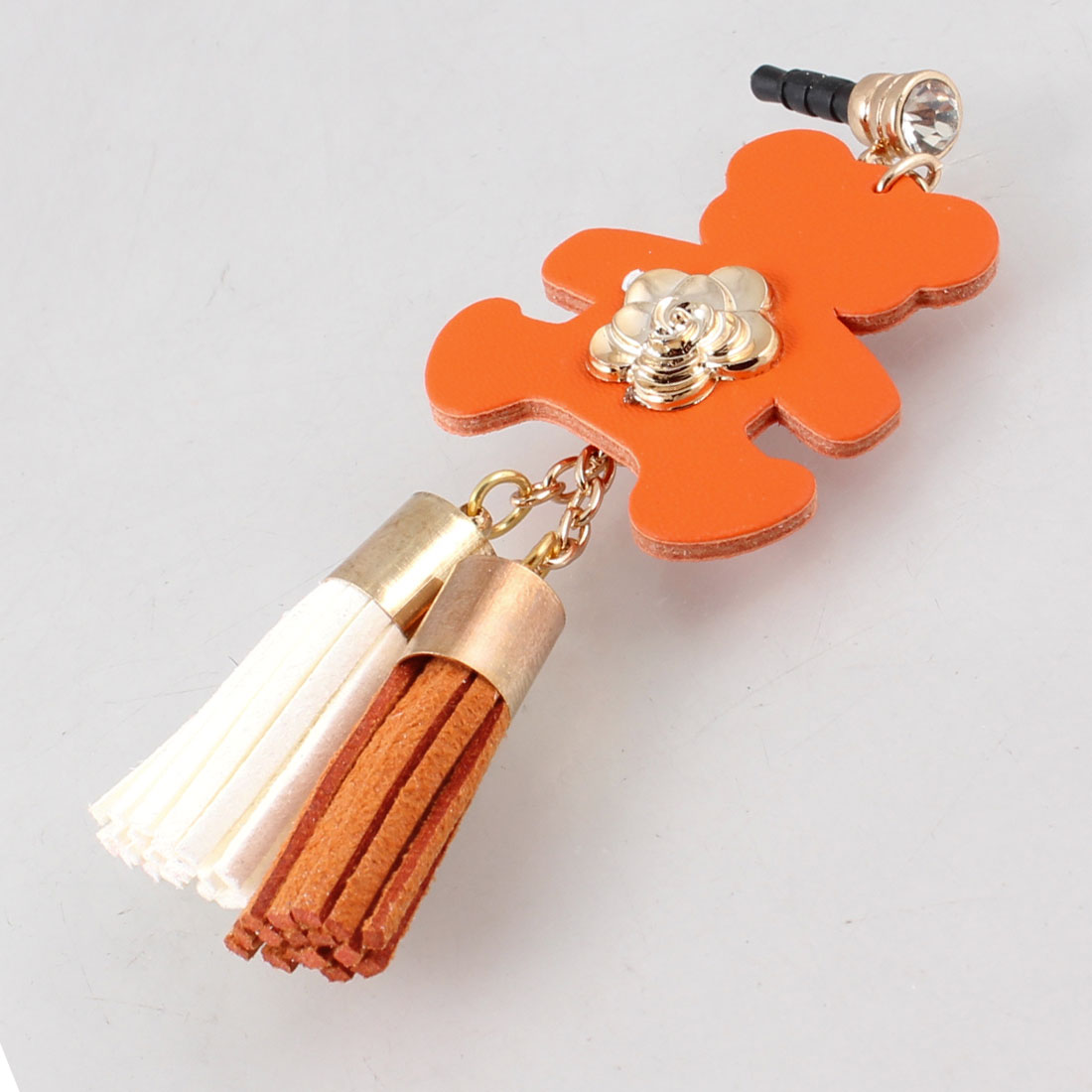 Bear Detail Orange Red 3.5mm Anti Dust Ear Cap Phone Strap