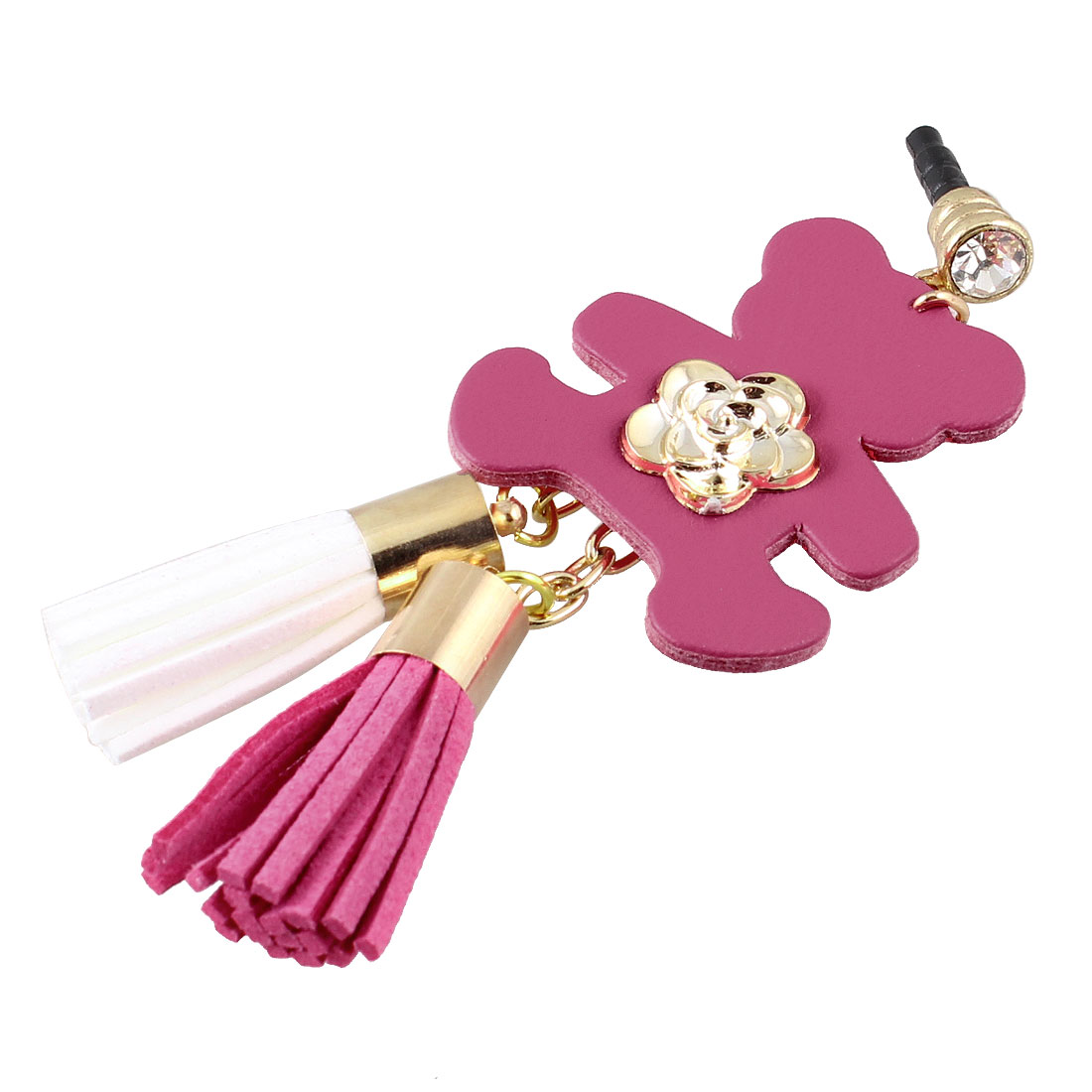 Bear Detail Fuchsia 3.5mm Anti Dust Ear Cap Phone Strap