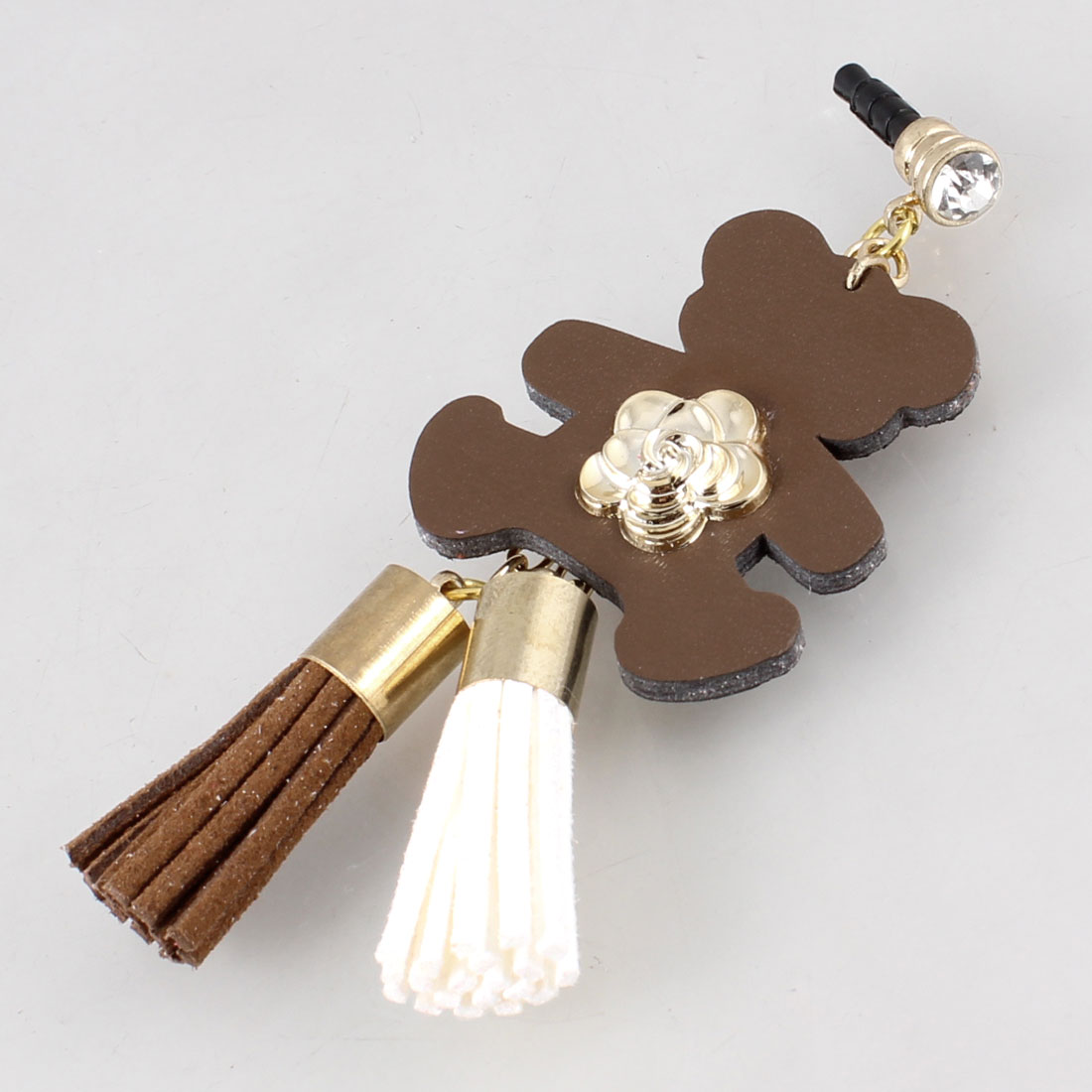 Tassel Bear Decor Coffee Color 3.5mm Ear Dust Cap Phone Strap