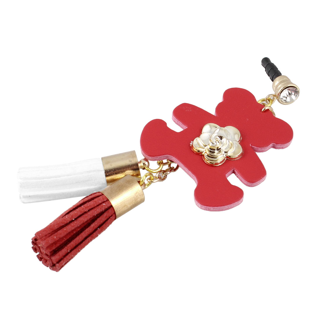Bear Detail Red 3.5mm Anti Dust Ear Cap Phone Strap