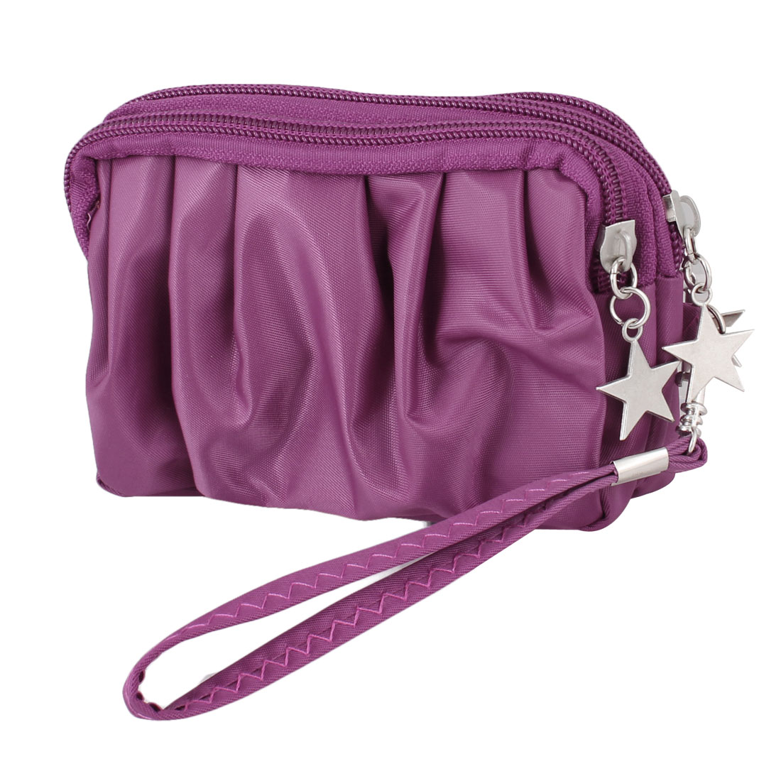 Woman Zipper Closure Fuchsia Polyester 3 Compartments Wallet Purse Bag