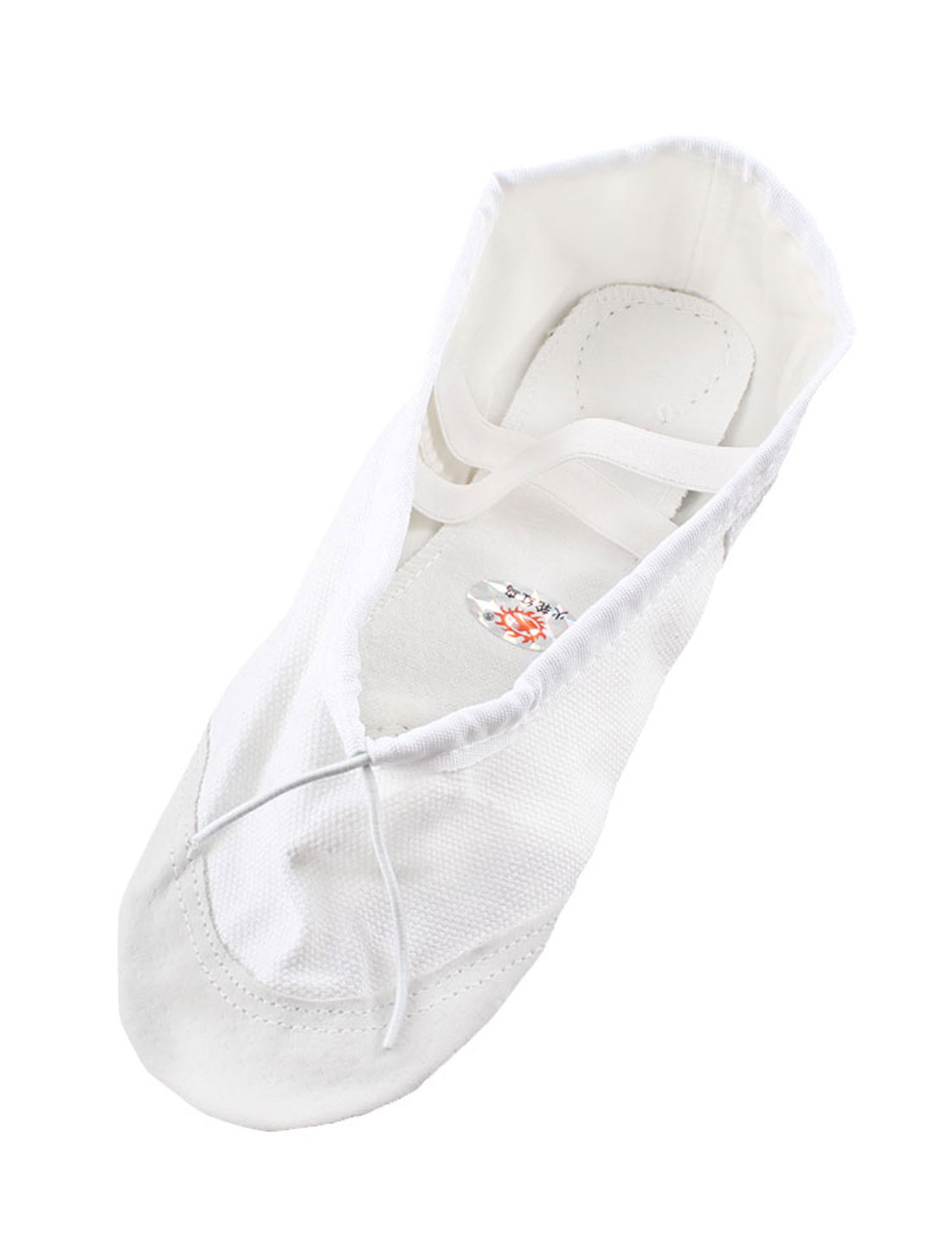 Ladies Faux Leather Sole Elastic Trim Dance Ballet Training Shoes White Pair