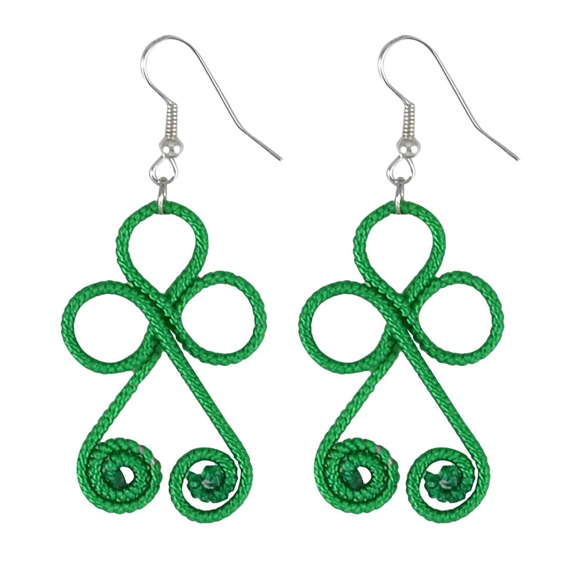 Women Lady Handmade Green Nylon Cord Coated Dual Spiral Dangle Fish Hook Earrings Pair