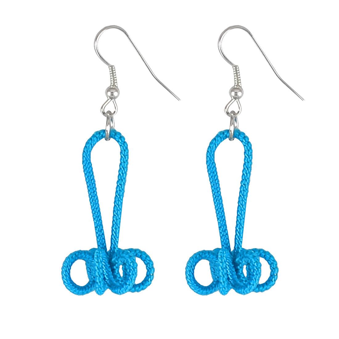 Lady Aqua Blue Handcraft Nylon Cord Coated Floral Flower Dangle Fish Hook Earrings Pair