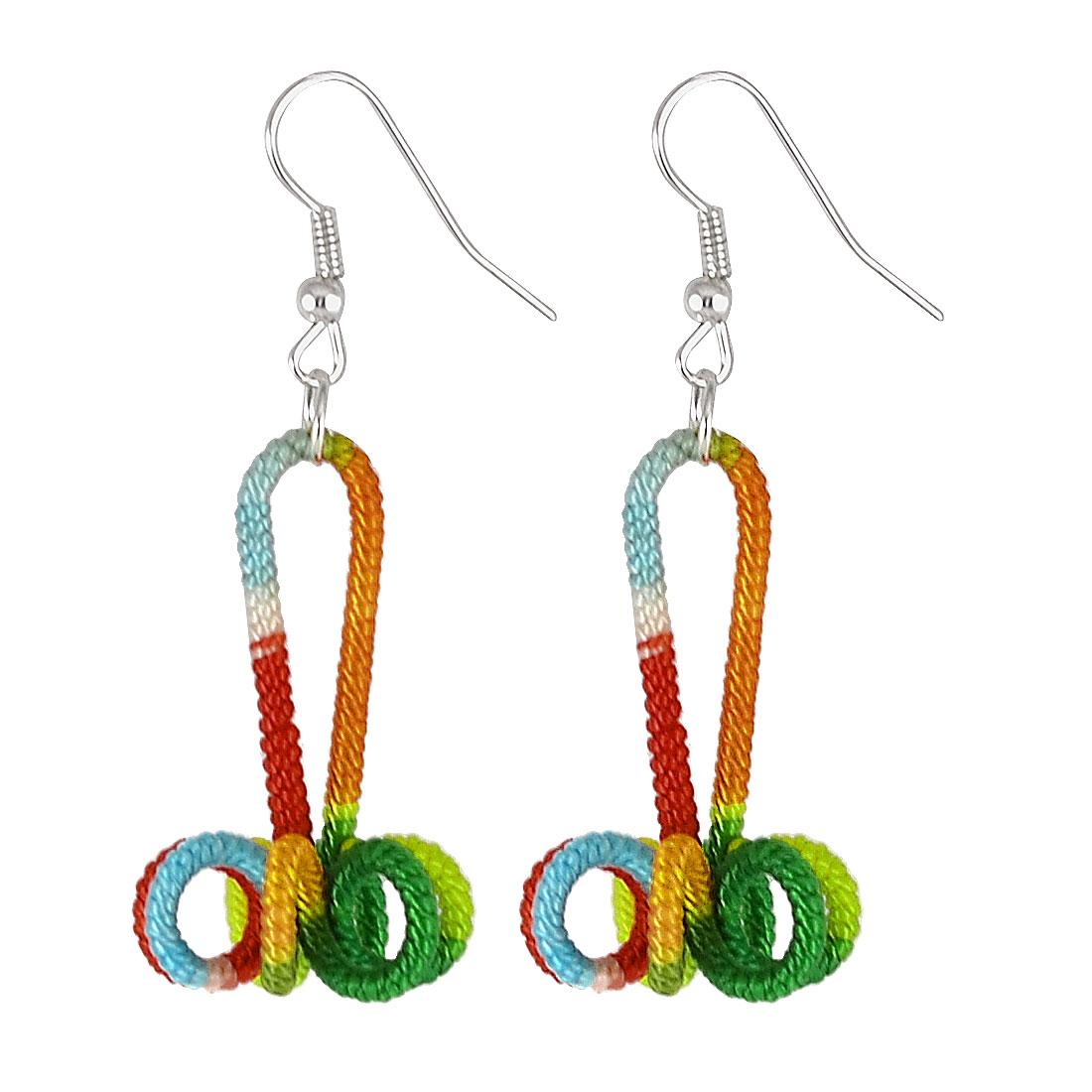 Women Colorful Handwork Nylon Cord Coated Floral Flower Dangle Fish Hook Earrings Pair