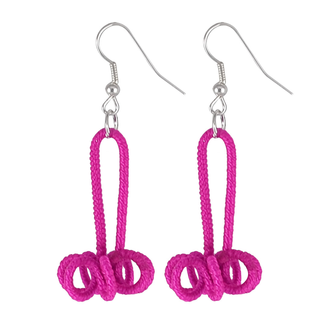 Women Fuchsia Handwork Nylon Cord Coated Floral Flower Dangling Fish Hook Earrings Pair
