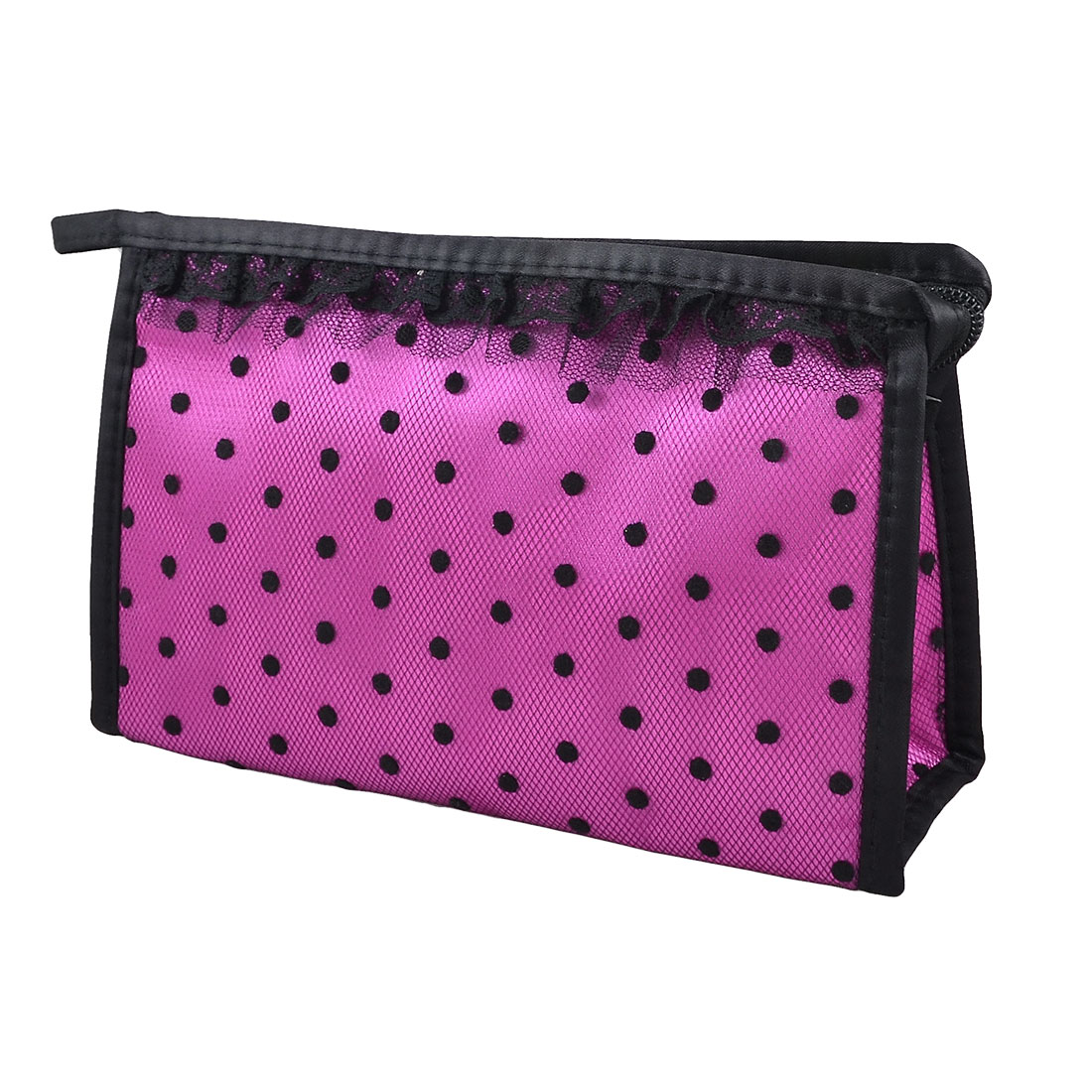 Zip up Fuchsia Black Dots Lace Meshy Cosmetic Bag Organizer Lipstick Perfume Holder