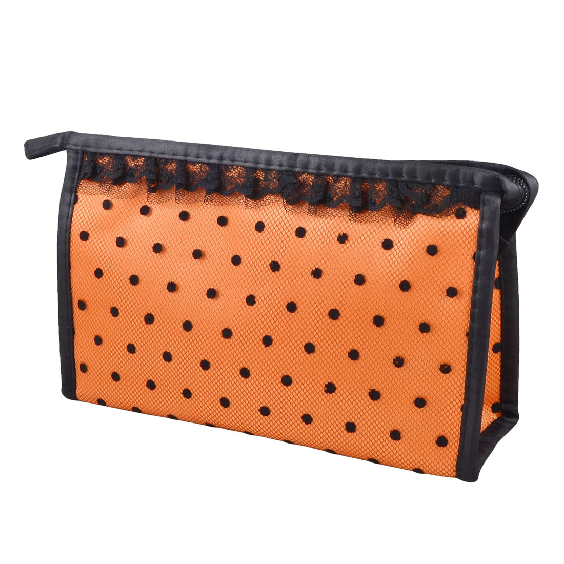 Orange Black Lace Dots Mesh Mirror Makeup Cosmetic Hand Bag Case Holder Organizer