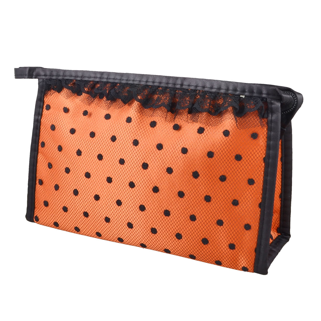 Dark Orange Black Dotted Mesh Lace Mirror Makeup Cosmetic Bag Organizer Mascaras Holder