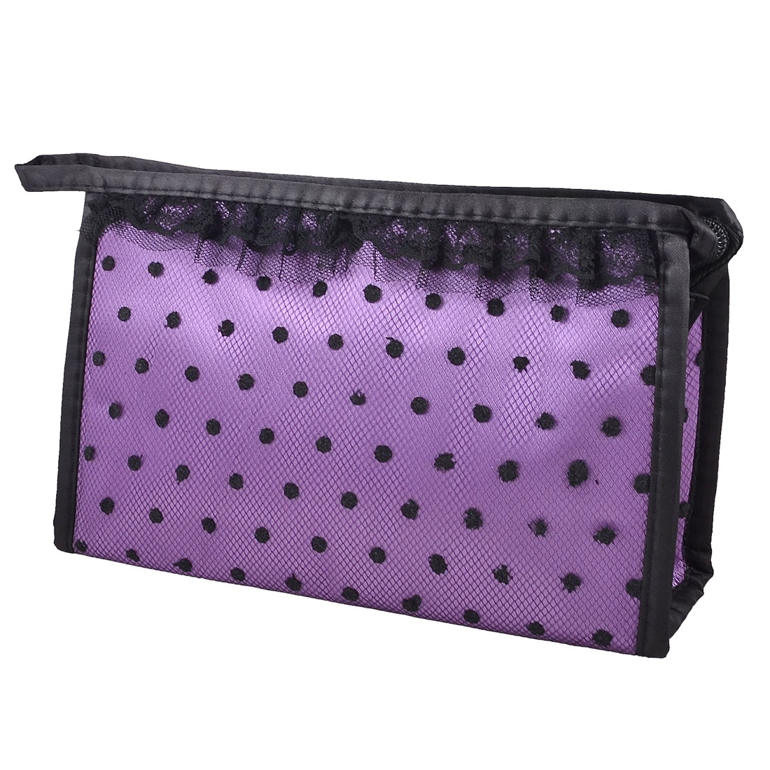 Zip up Purple Black Dots Lace Meshy Cosmetic Bag Organizer Lipstick Perfume Holder