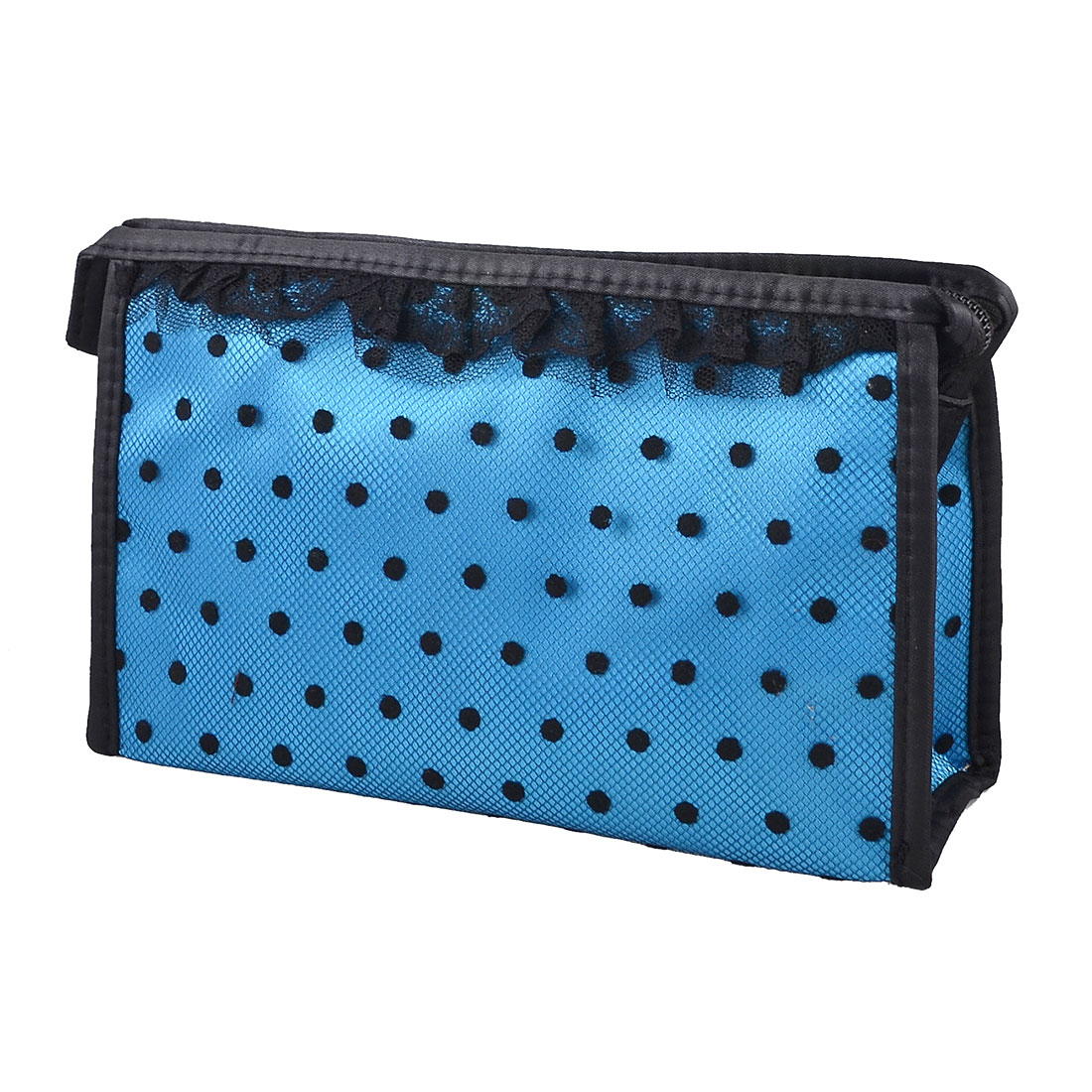 Lady Zip up Blue Black Dotted Lace Meshy Makeup Cosmetic Bag Organizer Holder