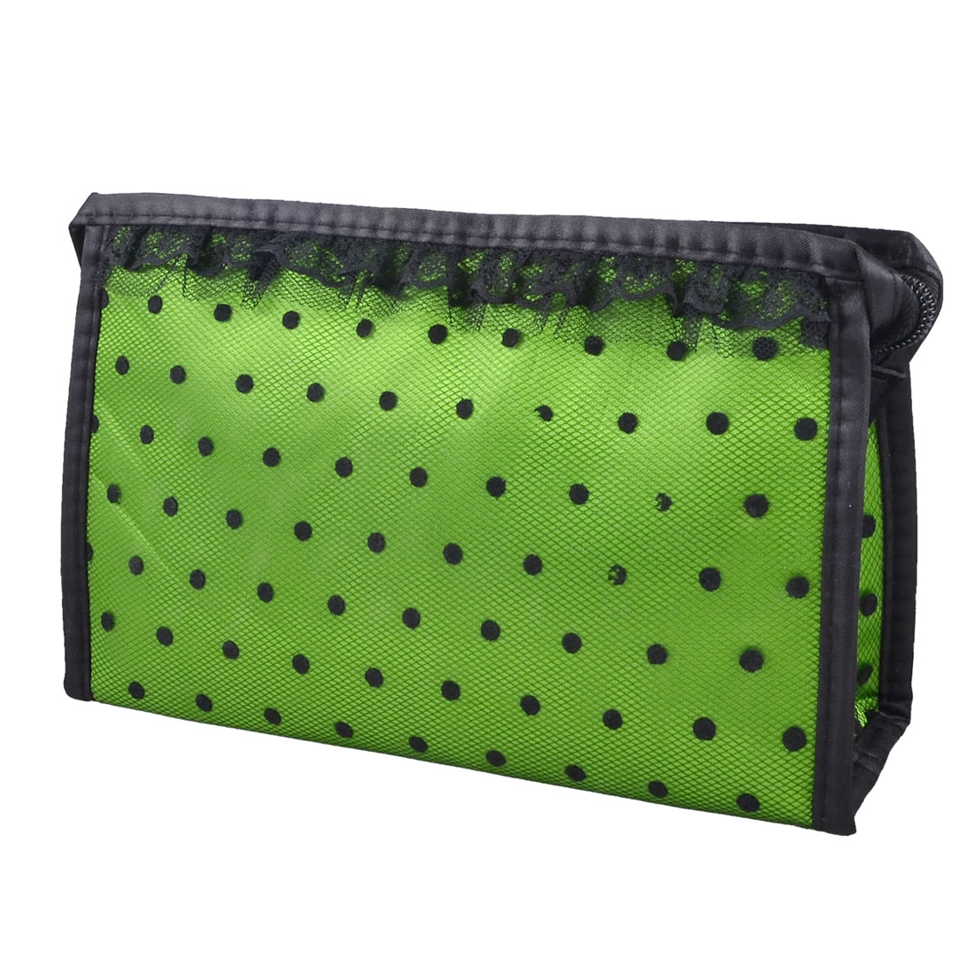 Lady Zippered Lace Dotted Mesh Rectangular Cosmetic Bag Pouch Organizer Black Green