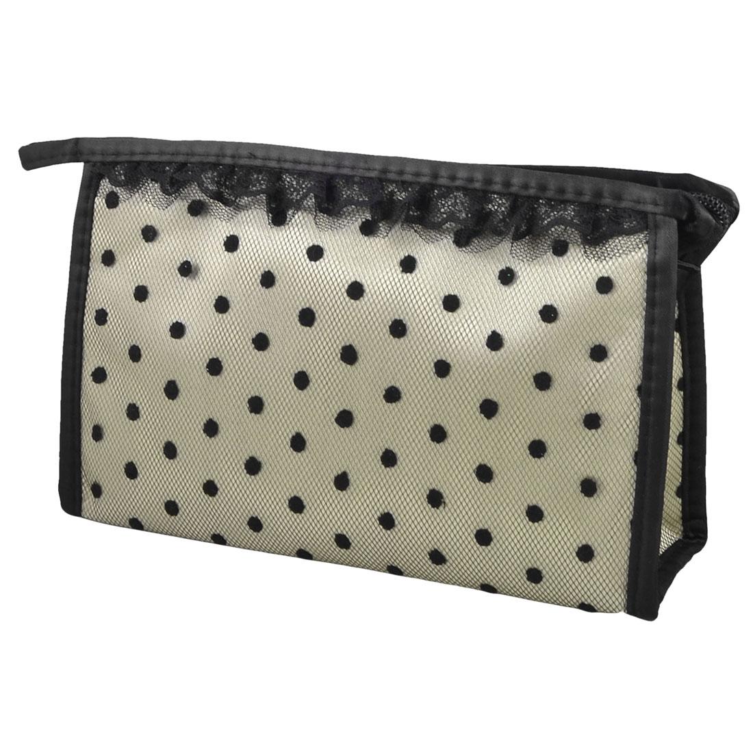 Zipper Closure Rectangle Lace Dots Mesh Makeup Cosmetic Bag Case Pouch Light Gray Black