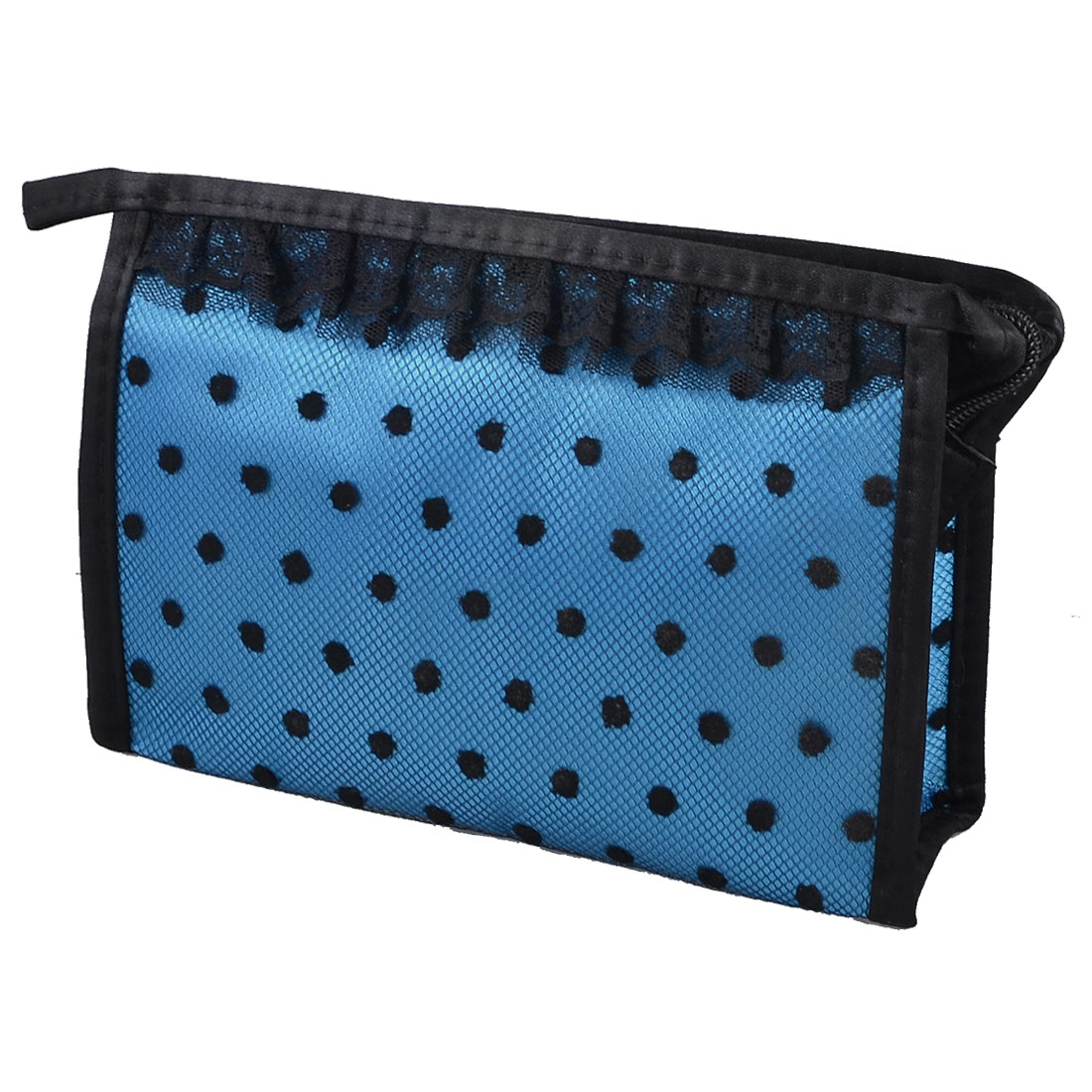 Rectangle Dots Mesh Lace Makeup Cosmetic Bag Organizer Mascara Blusher Holder Blue Black