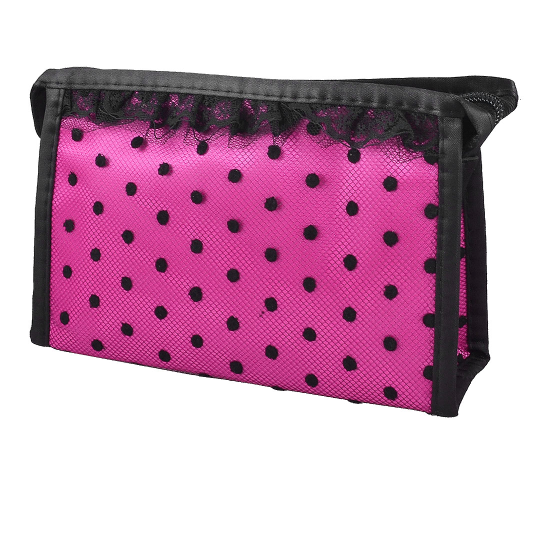 Zip up Pockets Mirror Inner Black Dots Meshy Lace Fuchsia Makeup Cosmetic Pouch Hand Bag