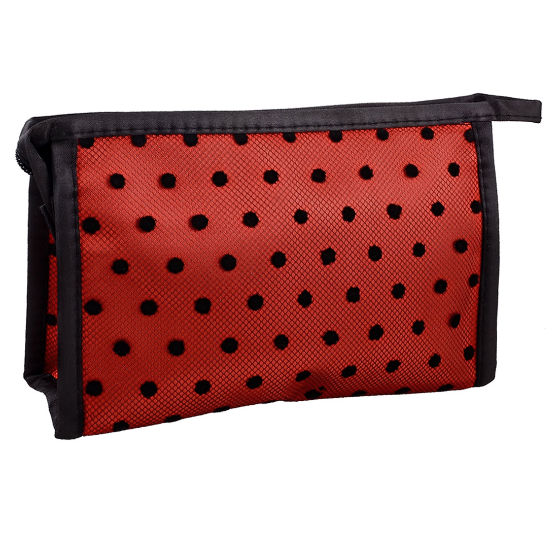 Zippered Rectangular Black Dotted Mesh Lace Makeup Cosmetic Case Pouch Hand Bag Red