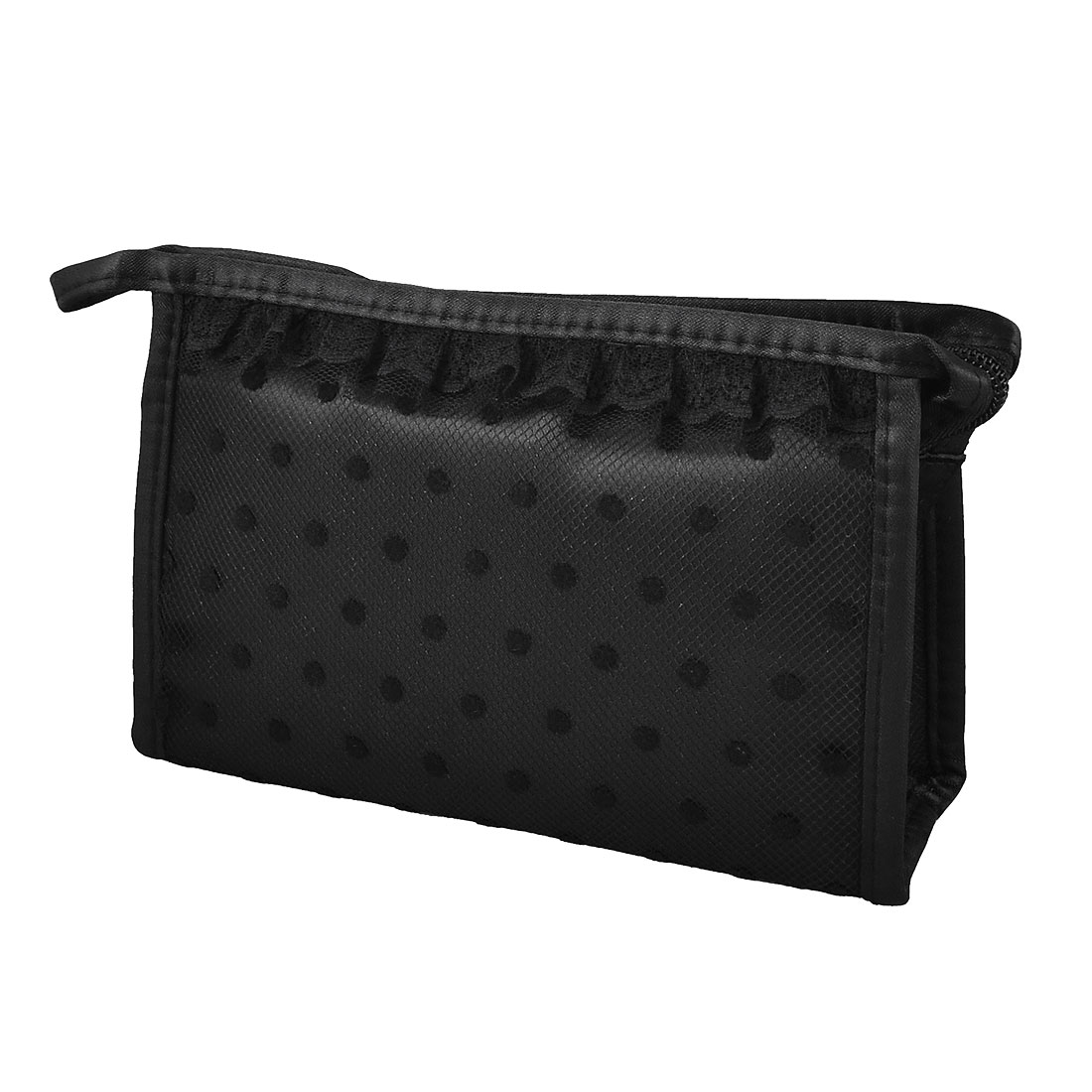Zip up Rectangular Black Dots Meshy Lace Makeup Cosmetic Case Hand Bag Perfume Holder