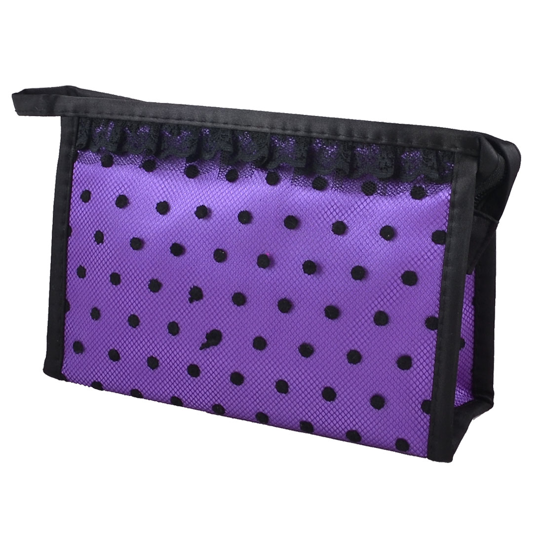 Zip up Rectangular Dots Meshy Lace Makeup Cosmetic Case Holder Hand Bag Purple Black