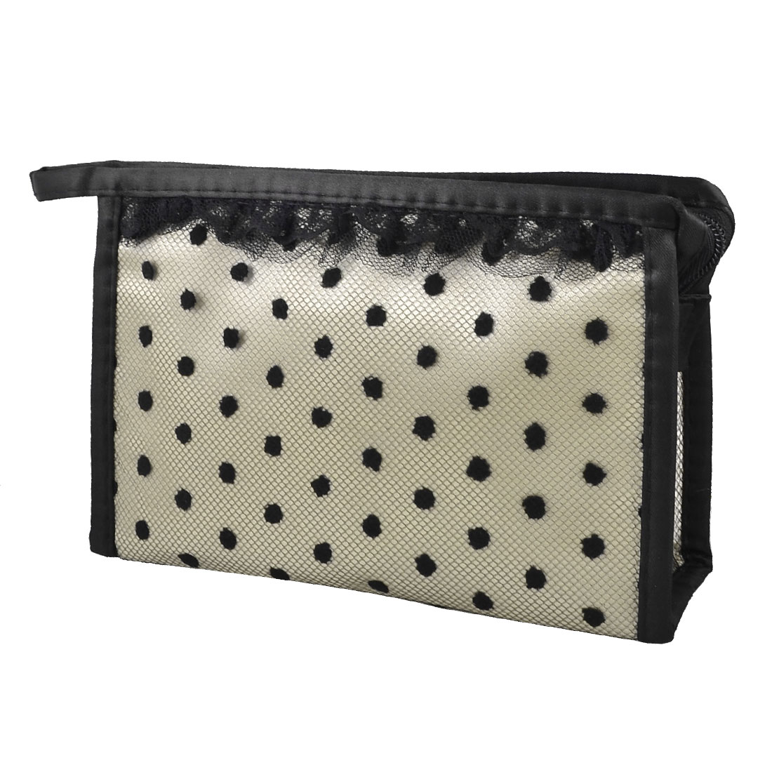 Zippered Rectangle Lace Dots Meshy Make up Cosmetic Bag Case Pouch Light Gray Black