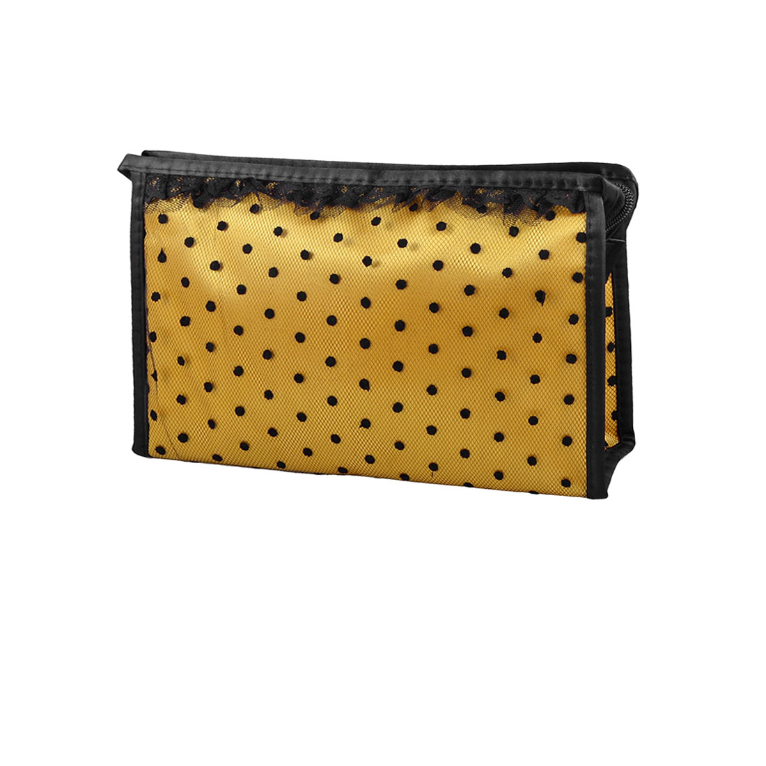 Zippered Rectangle Black Dots Mesh Lace Cosmetic Makeup Bag Blusher Perfume Holder Yellow