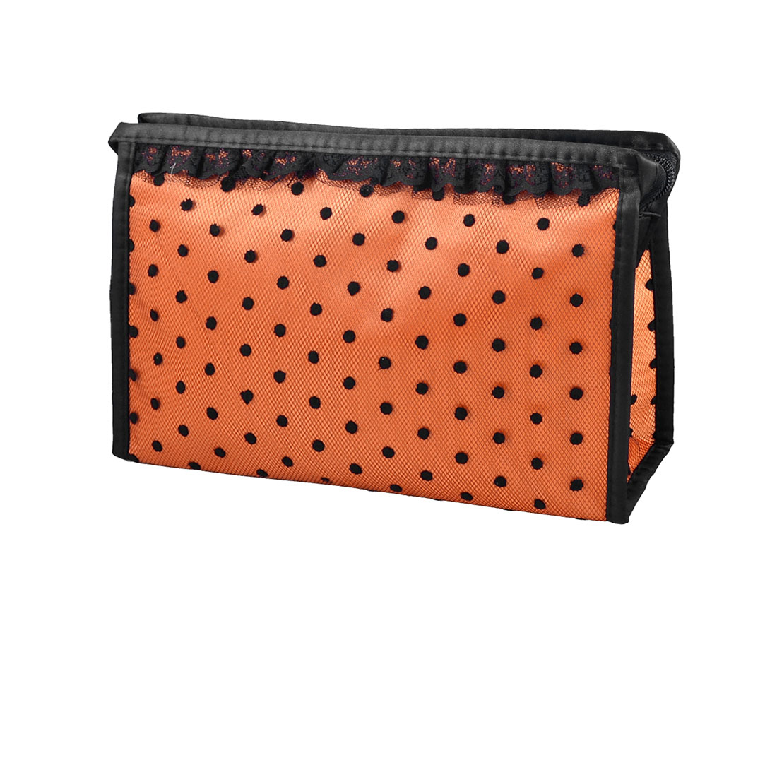 Orange Black Lace Dots Meshy Zippered Rectangular Makeup Cosmetic Bag Pouch Case